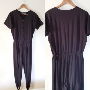 VINTAGE ONE PIECE JUMPSUIT WITH FOOT STRAPS LARGE